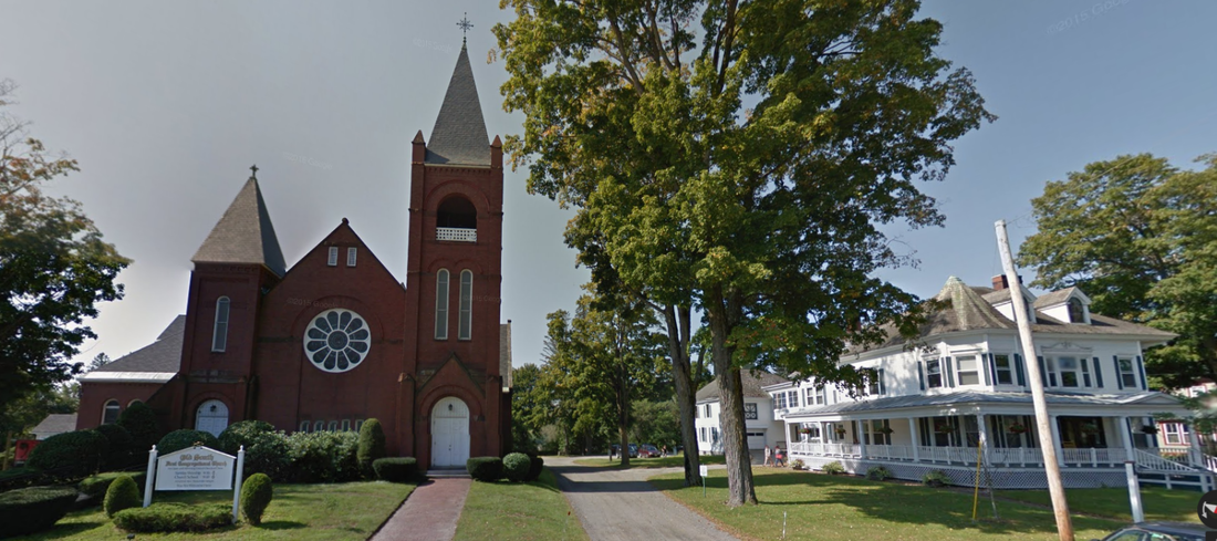 Street view of Old South Church and Holman Parish House.